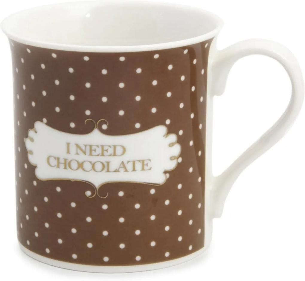 """Caneca \""""I Need Chocolate\"""" P/ Bolo Brigadeiro Marrom"""