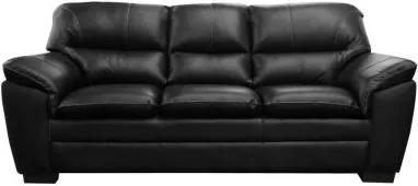Sofá de Couro Connor 3 Lugares - Preto com Brilho - Mempra