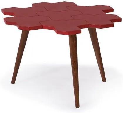 Mesa de Centro Colmeia Com Favos Cacau/Vermelho - 21851 Sun House