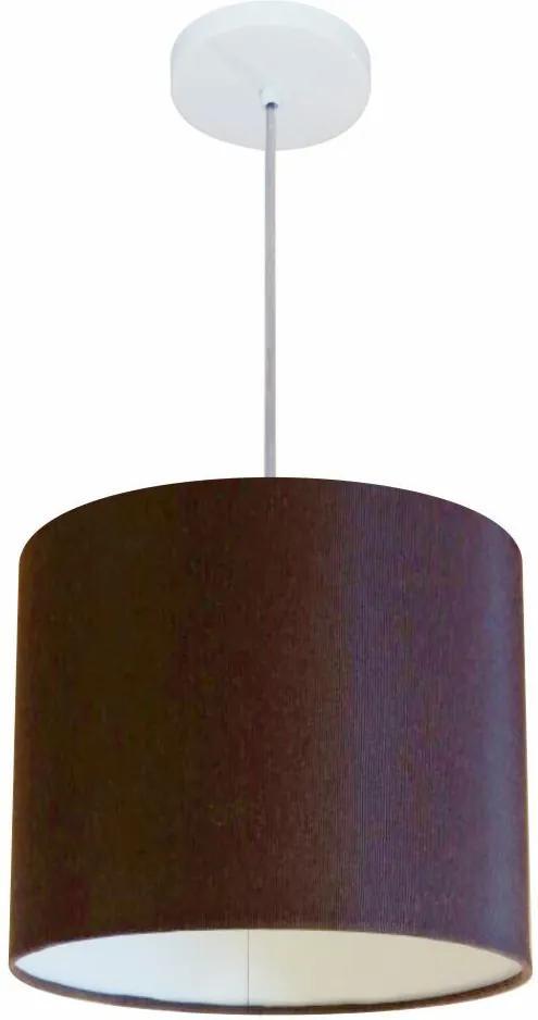 Lustre Pendente Cilíndrico Md-4054 Cúpula em Tecido 30x21cm Café - Bivolt