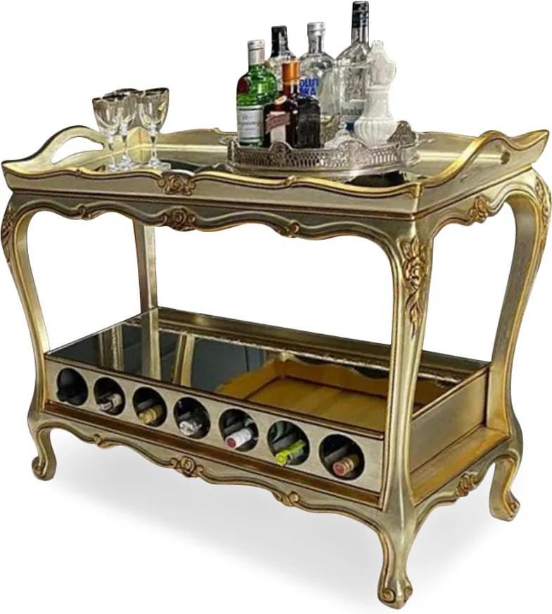 Carrinho de Bar Gourmet Clássico Entalhado Madeira Maciça Pintura Dourada Design de Luxo