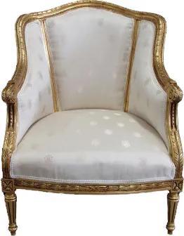 Poltrona Clássica Luis XVI com Estofado Branco Folheada à Ouro