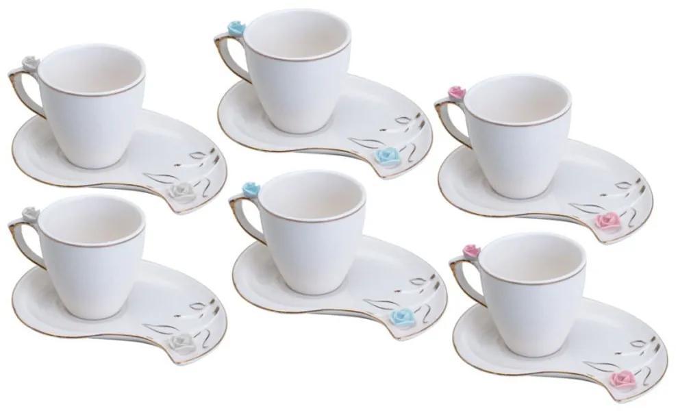 Jogo Xícaras Café Porcelana 6 Peças Flower Desing Plate Colorido 90ml 35468 Wolff