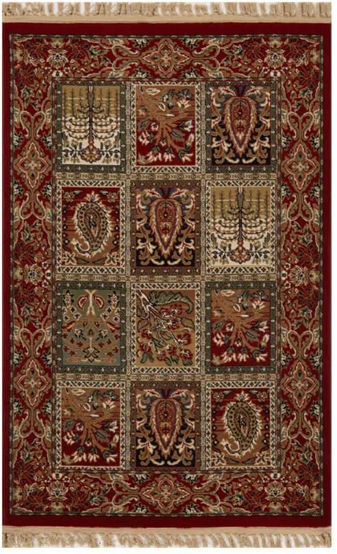 Tapete Persa Isfahan Vermelho com Detalhes - 100x150cm