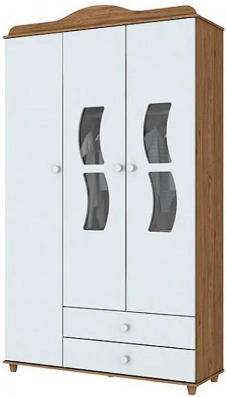 Roupeiro Solteiro Ciranda 3 Portas 2 Gavetas - Branco/Rustico