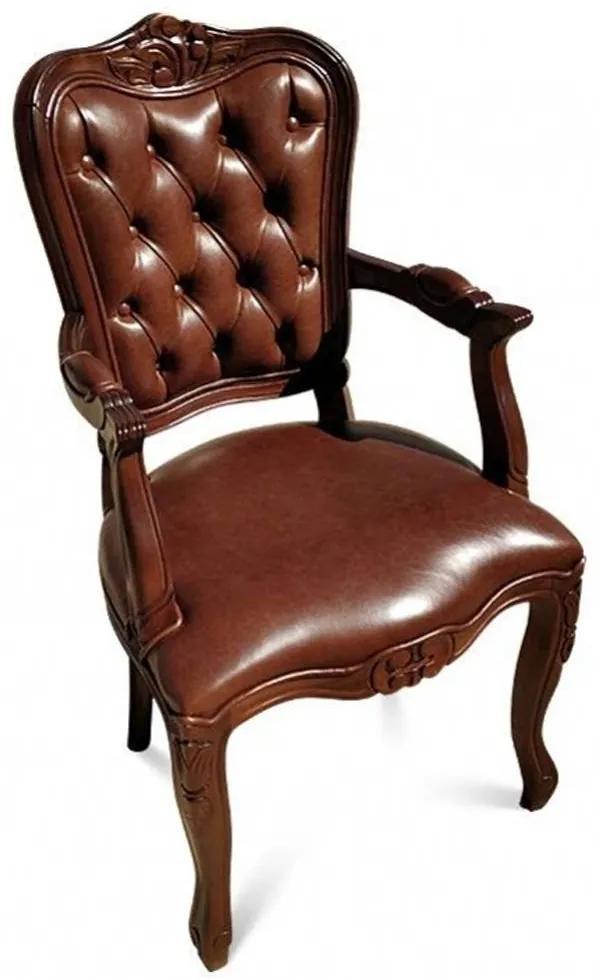 Cadeira com Braço Luís XIV Capitonê Design de Luxo Peça Artesanal