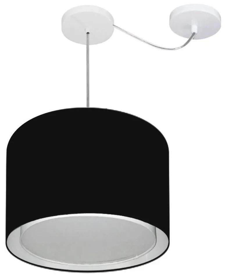 Lustre Pendente Cilíndrico Com Desvio Md-4306 Cúpula em Tecido 40x30cm Preto - Bivolt
