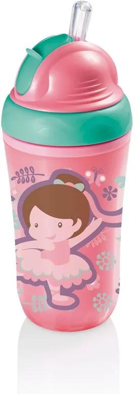 Copo Térmico com Canudo de Silicone Cool Rosa 24M+ Multikids Baby