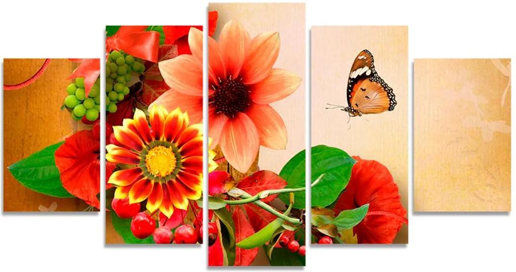 Quadro Decorativo Flor Uva Borboleta Quarto Sala Casa