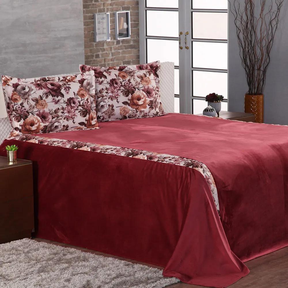 Cobre Leito Casal King Roma Tecido Veludo 03 Peças - Vermelho / Floral