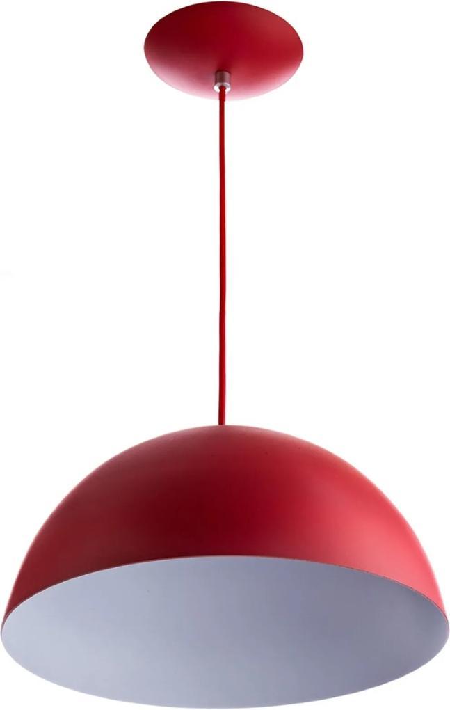 Lustre Pendente Meia Lua 30cm De Alumínio Vermelho