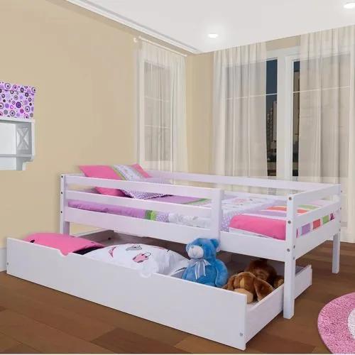 Cama Infantil c/ Grade de Proteção e Gavetão ou Cama Auxiliar - Meninas - Casatema