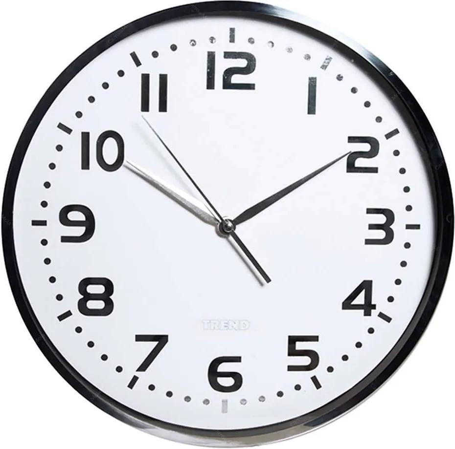 Relógio de Parede Shiny Prata e Branco em Metal - Urban - 35 cm