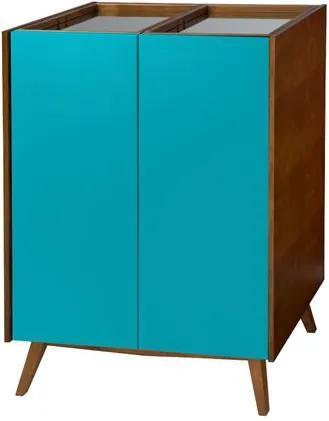 Adega 2 Portas Novita com Bandejas em Espelho - Nogal/Azul