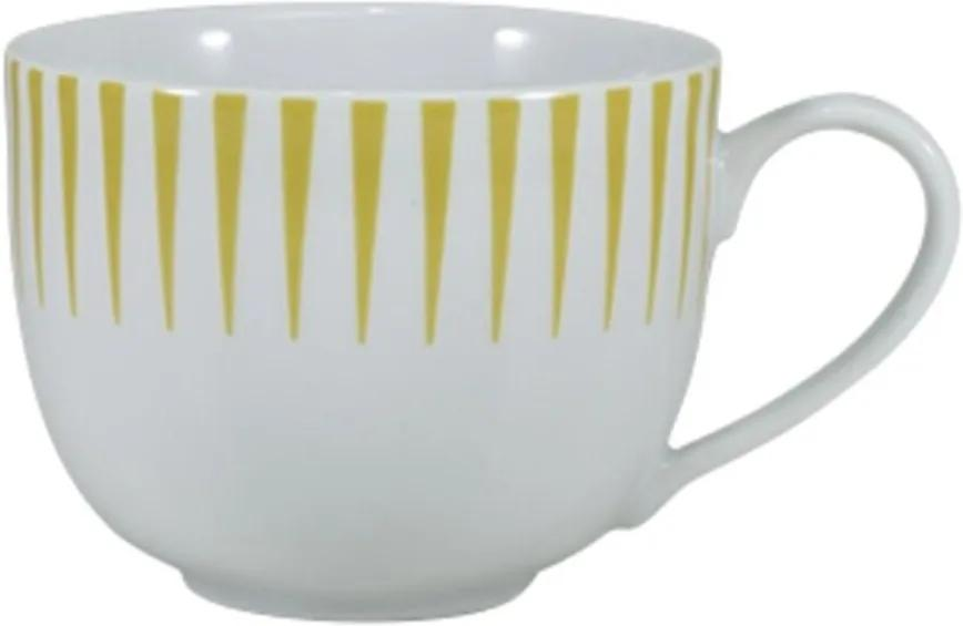 Xícara Chá com Pires 200 ml Porcelana Schmidt - Dec. Sol Amarelo