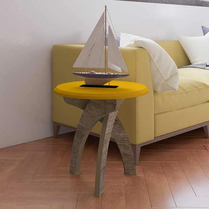 Mesa de Canto Jade 100% MDF Retrô 50cm Amarelo Canela - Artely Móveis