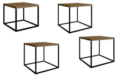 Conjunto Mesas Cube Vermont Estrutura Preta 38cm - 54404 Sun House