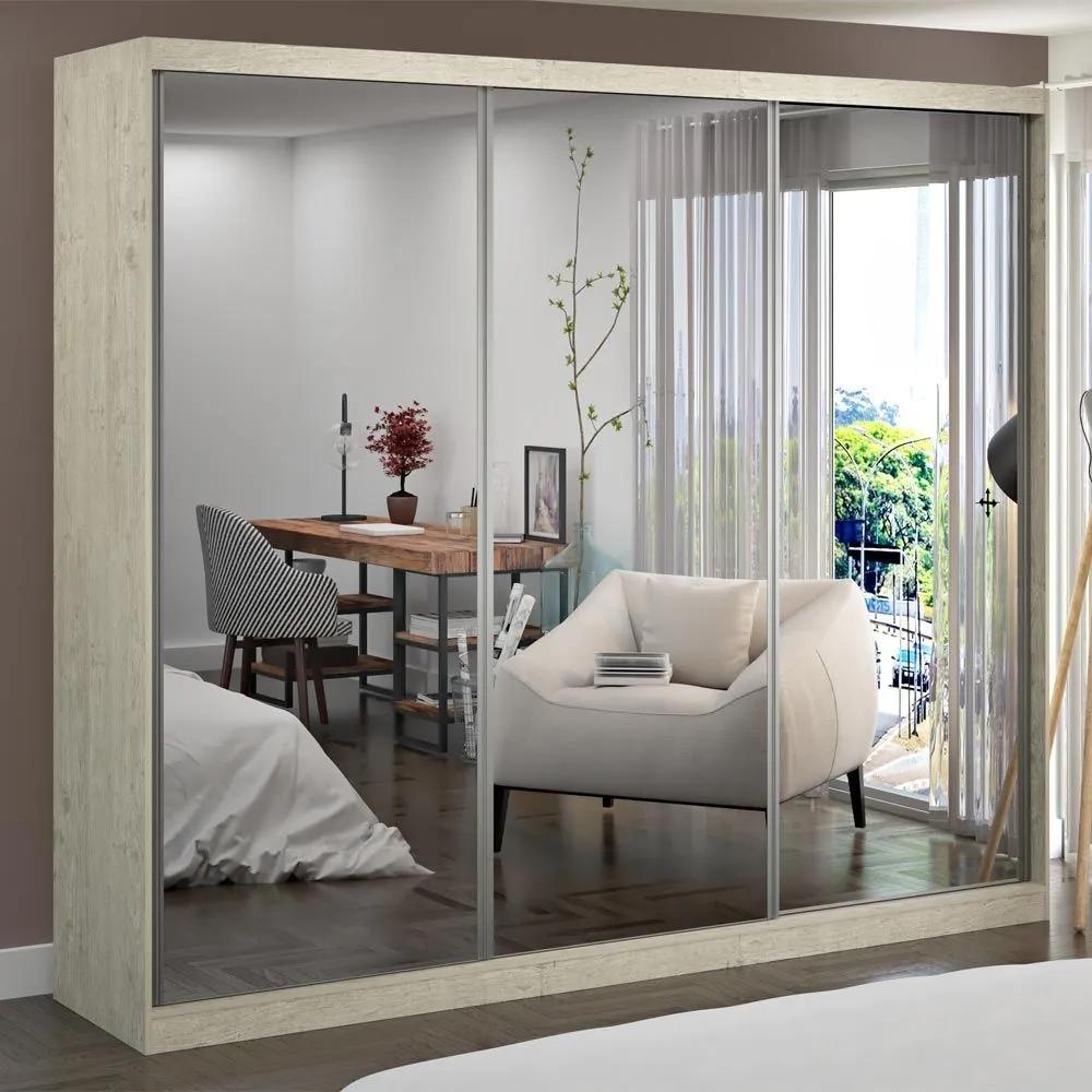 Guarda-Roupa Casal 3 Portas com 3 Espelhos 100% Mdf 7320g4e3 Marfim Areia - Foscarini