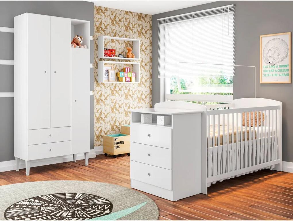 Quarto Infantil com Berço Encanto Branco Art in Móveis