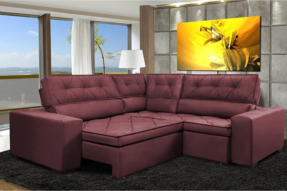 Sofa De Canto Retrátil E Reclinável Com Molas Cama Inbox Austin 2,30m X 2,30m Suede Velusoft Vinho