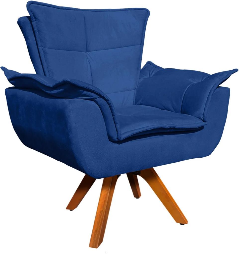 Poltrona D'Rossi Decorativa Giratória Gran Opala Base Madeira Suede Azul Royal