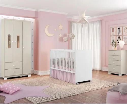 Quarto de Bebê Completo Cora Linda II - Branco/Off White