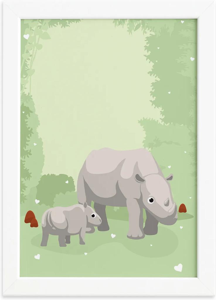 Quadro Infantil Rinoceronte Família Moldura Branca 22x32cm