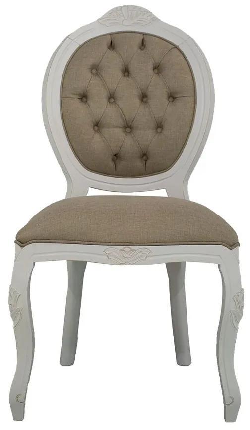 Cadeira de Jantar Medalhão Entalhada Sem Braço - Wood Prime 15612 Liso