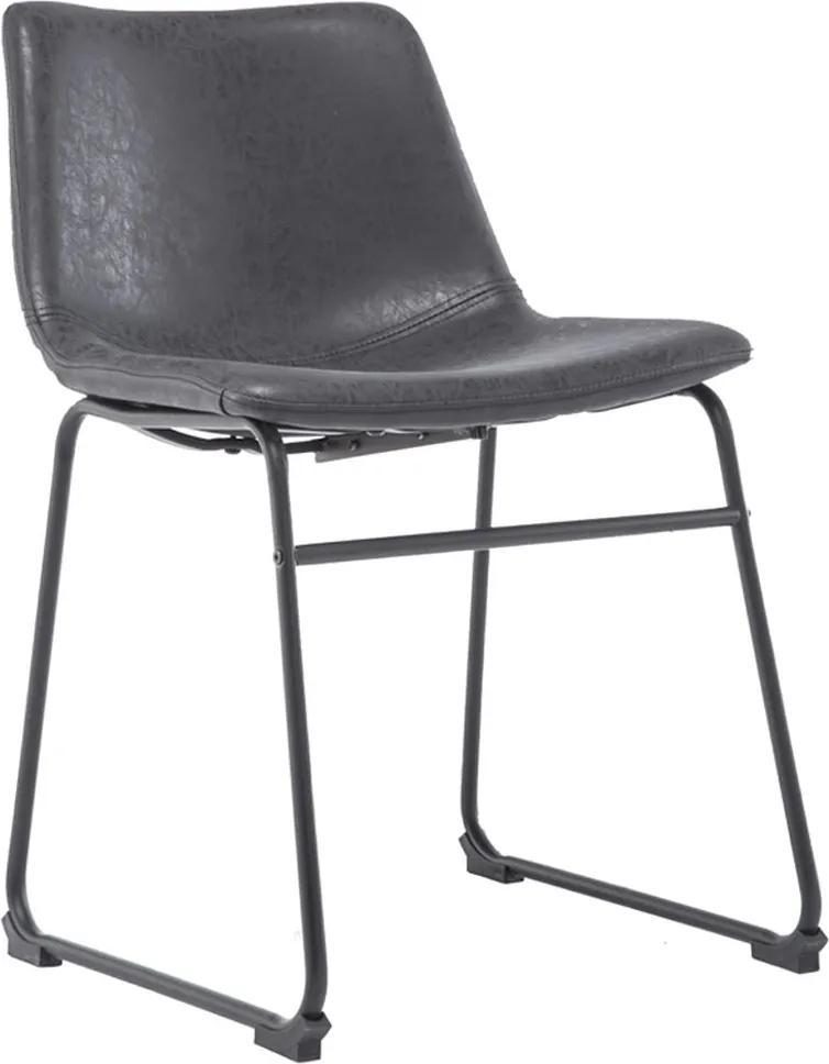 Cadeira Decorativa Sala de Estar Recepção Fixa Maia PU Preto - Gran Belo