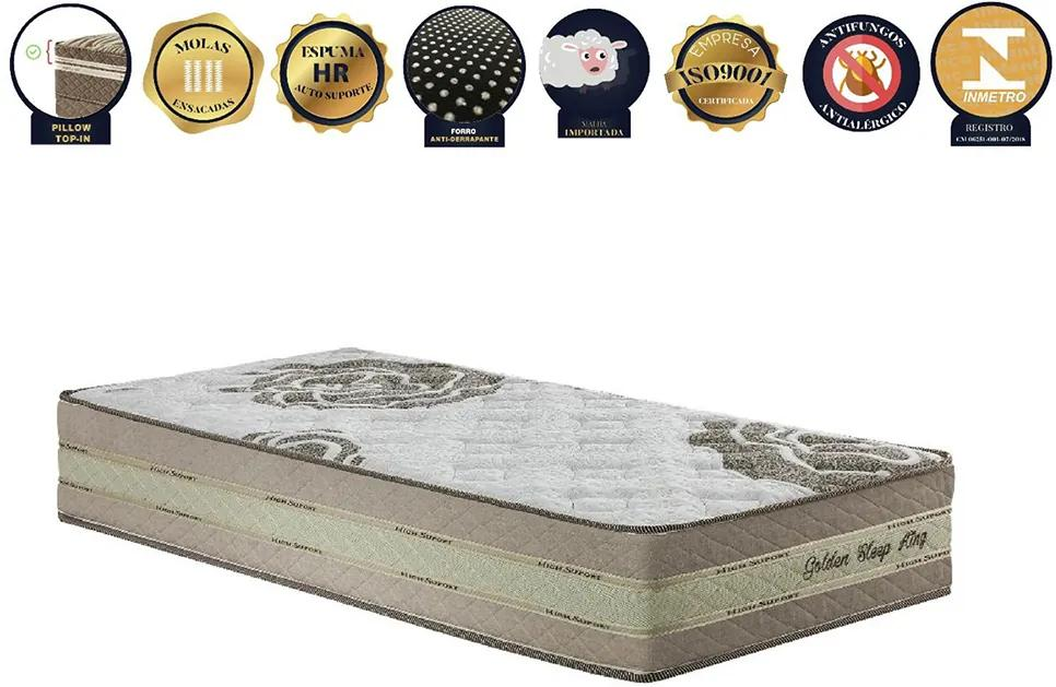 Colchão De Molas Ensacadas Solteiro Americano Golden Sleep King - Pilow Top-in Com Espumas Progressivas - 96x203x31 - King Konfort