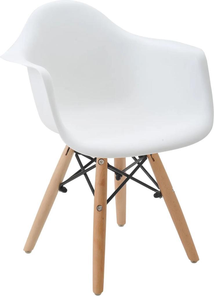 Cadeira Eiffel Infantil Com Braço Branca Base MADEIRA Rivatti
