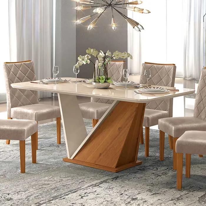 Mesa de Jantar DJ Móveis Ariel para 06 Cadeiras Tampo de Vidro 180cm Terrara Off White