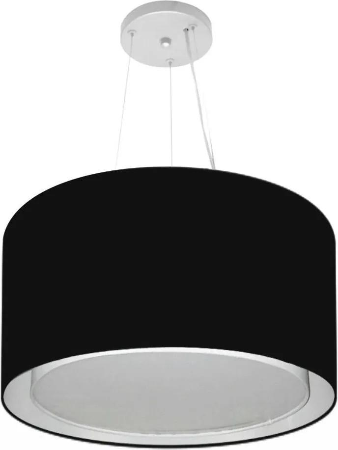 Lustre Pendente Cilíndrico Duplo Md-4299 Cúpula em Tecido 45x30cm Preto - Bivolt