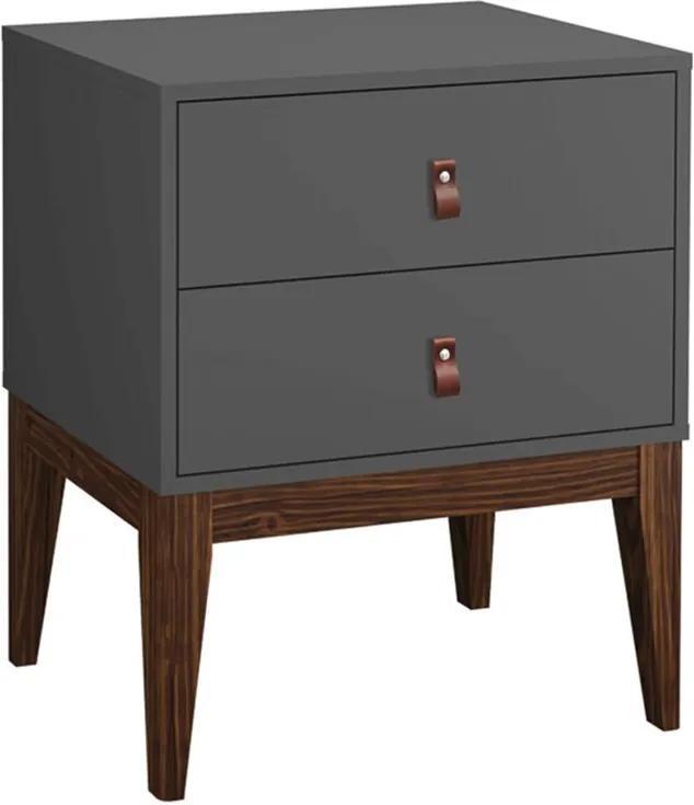 Mesa de Cabeceira Detroit 2 Gavetas Grafite - Wood Prime PA 44035
