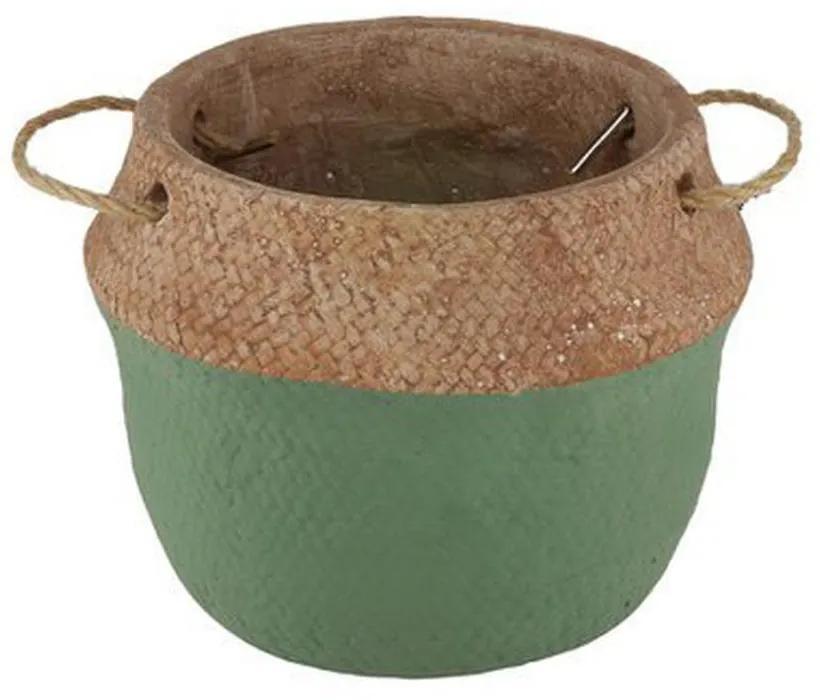 Vaso Cimento Com Alça Verde/Palha 21x18cm 60755 Royal