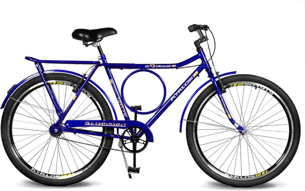 Bicicleta Kyklos Aro 26 Circular 5.8 Freio Manual A-36 Azul