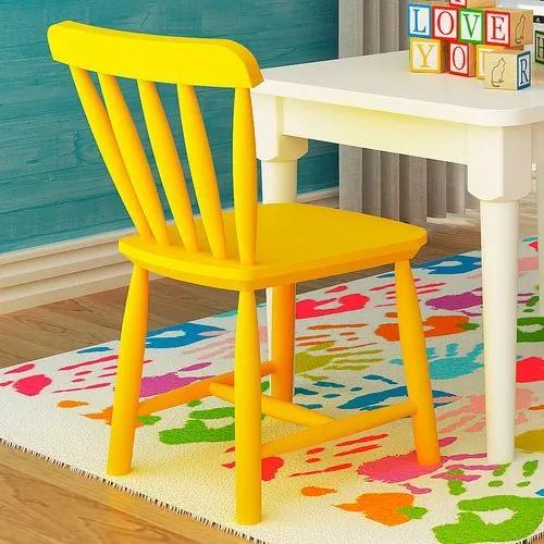Cadeira Infantil em Madeira - Acabamento Laqueado Amarelo