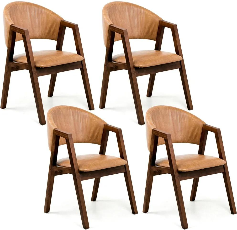 Kit 04 Cadeiras Para Sala de Jantar Cozinha Nik Canela Courino Camel - Gran Belo