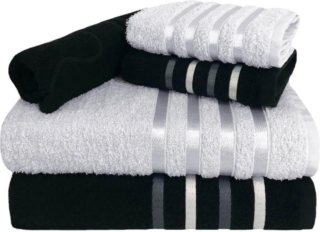 Jogo de Toalha 5 Peças kit de toalhas 2 banho 2 rosto 1 piso Preta e Branca