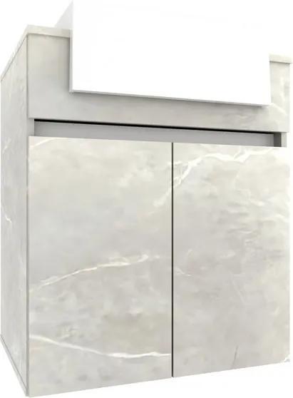 Gabinete para Banheiro com Cuba Cora 60cm 010110.7701 Reale/Branco - Móveis Bosi