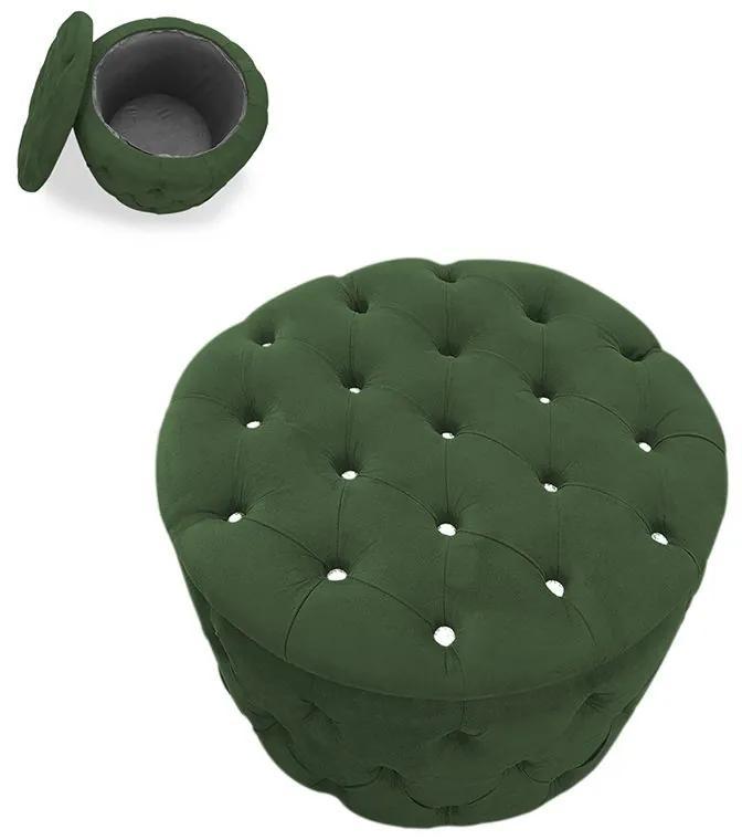 Puff Baú Redondo Alícia com Strass Suede Verde - Sheep Estofados - Verde escuro