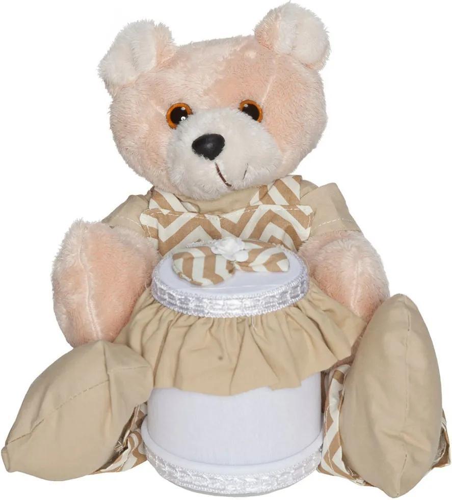 Urso Porta Cotonete Elliot Chevron Cáqui