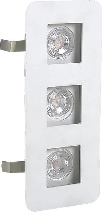 Plafon Embutir Triplo Aluminio Branco 18,5cm