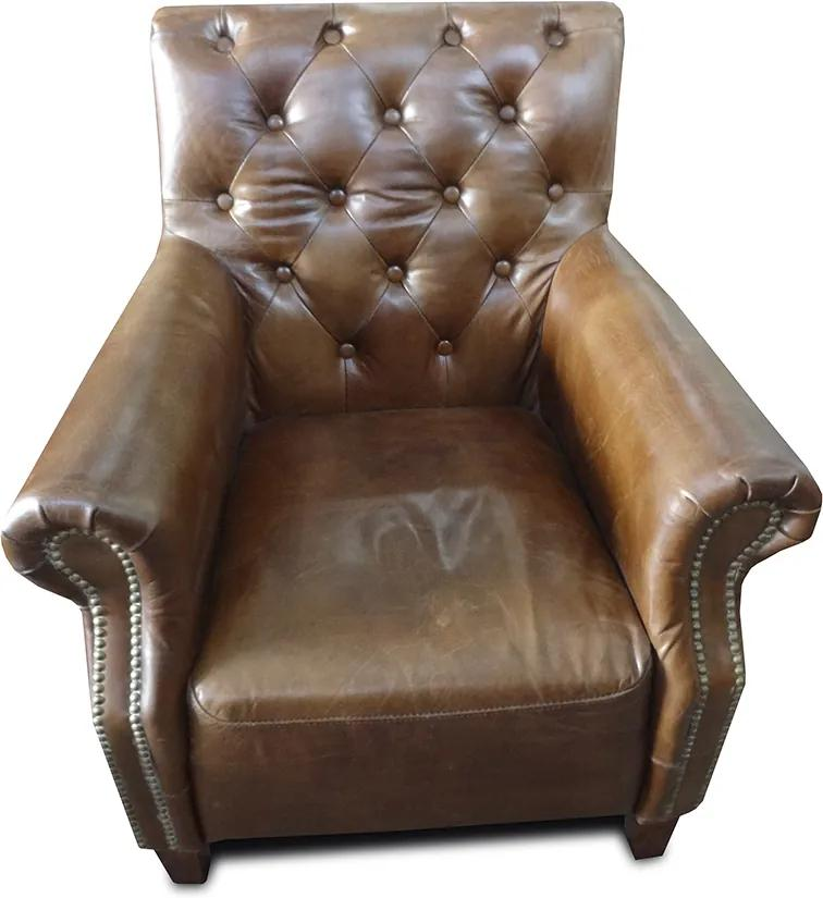 Poltrona Chesterfield em Couro Bege
