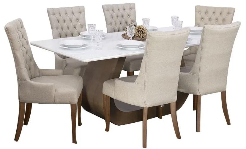 Conjunto Sala de Jantar Mesa Design com 6 Cadeiras Judy - Wood Prime 44665