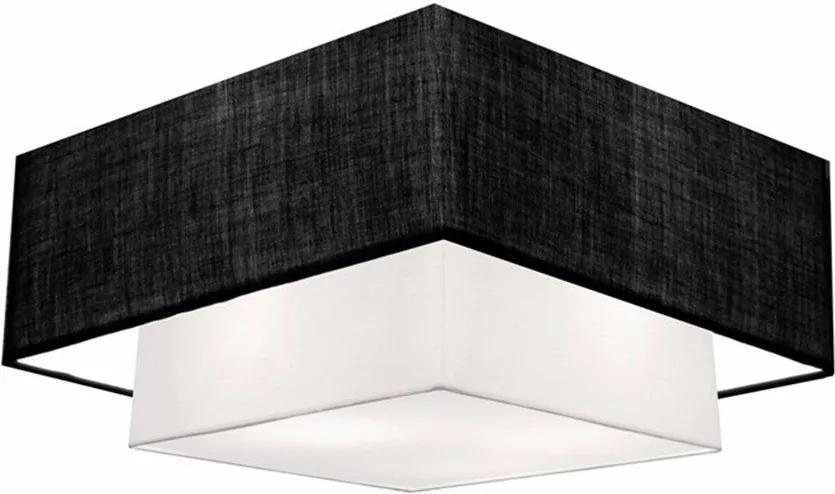 Plafon Duplo Quadrado Md-3018 Cúpula em Tecido 25/70x50cm Preto / Branco - Bivolt