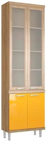 Paneleiro 4 Portas 4 Prateleiras Sicília - Vidros Miniboreal - Argila Texturizada e Laca Amarelo
