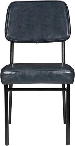 Cadeira Bayonne S/Braço em Metal e Couro Cinza