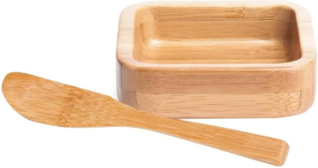 Cumbuca Tigela Bolw Bambu Com Espatula De 14cm 100ml