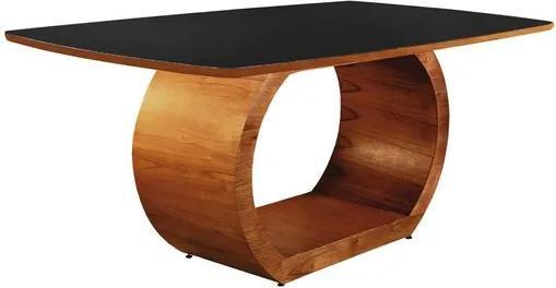 Mesa de Jantar 6 Lugares de Madeira Imbuia com Tampo de Vidro Preto 1,80m Sirkel